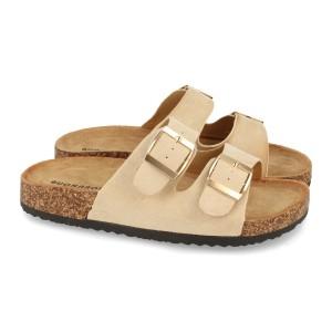 Sandalia hebillas beige