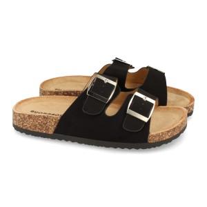 Sandalia hebillas negro