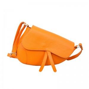 Bolso silla de montar piel mediano naranja