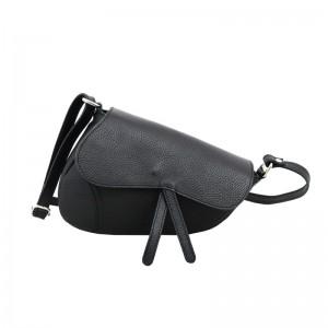 Bolso silla de montar piel mediano negro