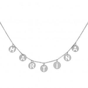 Collar Nombre mini charms plata