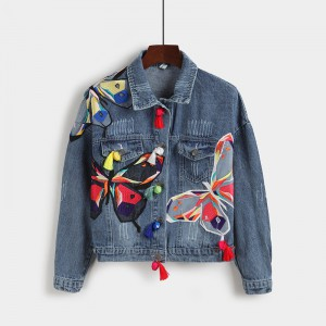 Cazadora Denim bordado mariposas